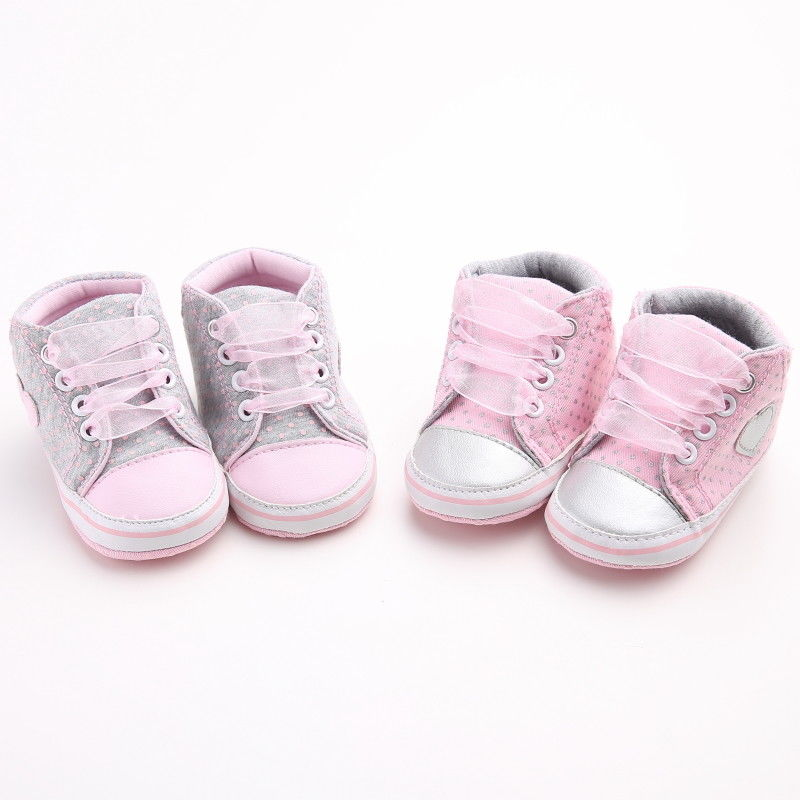 Newest Lovely Infant Baby Girls Polka Dots Shoes Prewalker Cotton Crib Shoes Soft Anti-slip 0-18M