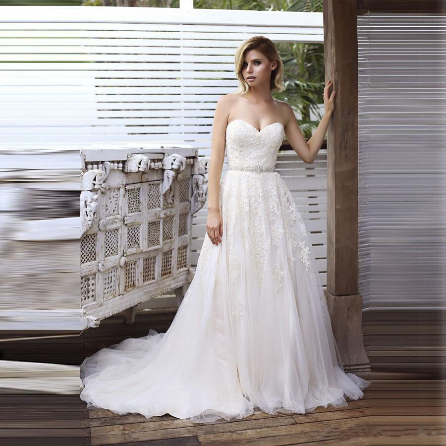 Sweetheart Bridal Dress 2019 Vintage With Belt Wedding Gowns Backless Vestido De Noiva Wedding Dress