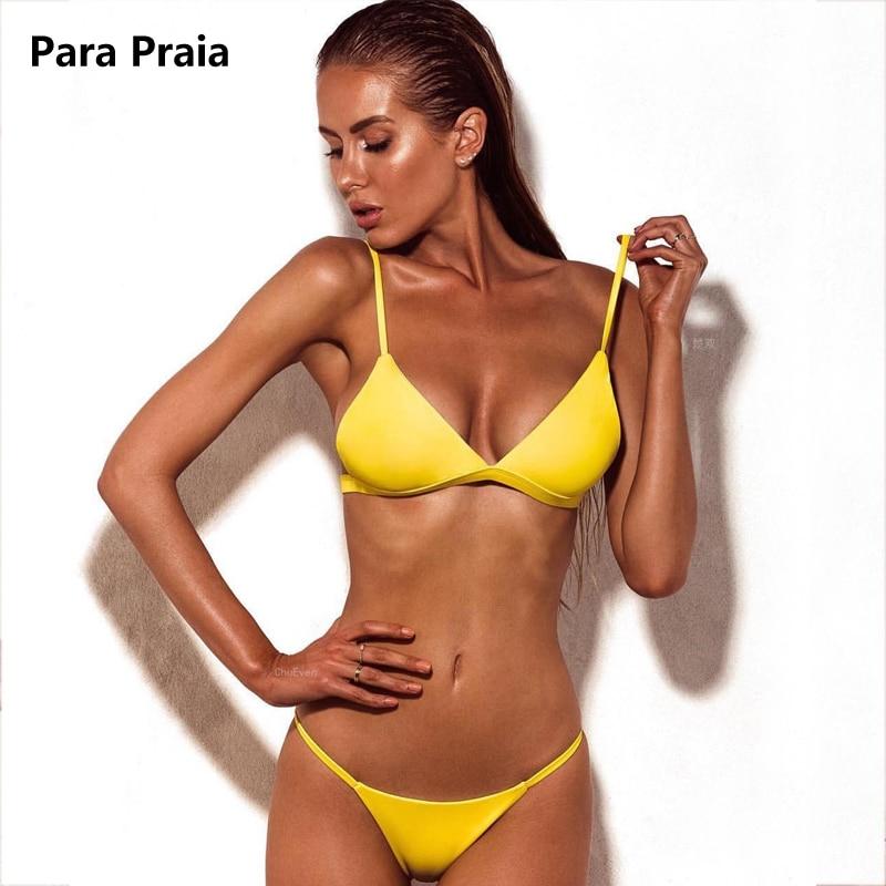 9 Colors Solid Bikini Set 2019 Sexy Push Up Swimwear Women Brazilian Swimsuit Low Waist Biquini Halter Two Pieces Bathing Suit 5