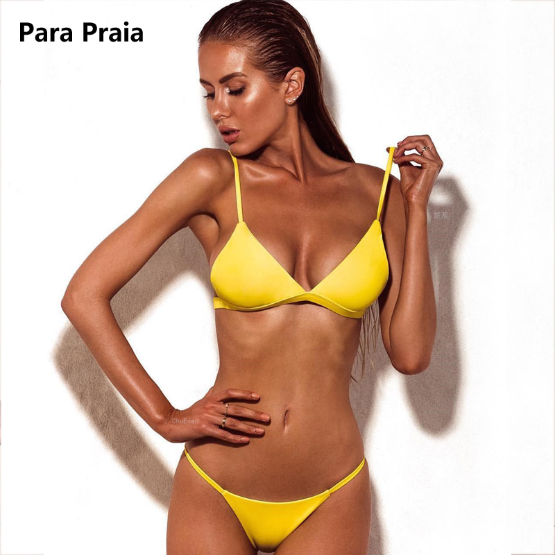 9 Colors Solid Bikini Set 2019 Sexy Push Up Swimwear Women Brazilian Swimsuit Low Waist Biquini Halter Two Pieces Bathing Suit-5