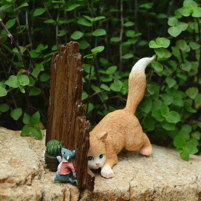 2019 Mini Mice and Cat Resin Figurines for Home Decor Animal Mice Mouse Rat Ornaments Miniature Fairy Garden decoration gifts