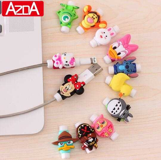 Cartoon Protector Kabel Cord Saver Cover Coque Voor iPhone 8 Plus 4 4S 5 5S SE 5C 6 6S 7 X Xs Max XR Voor Funda iPhone 7 Plus case