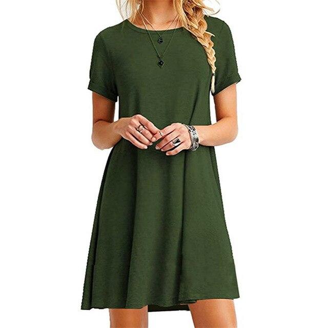 Women Summer Solid Dress O-neck Short Sleeve Party Casual Wear Mini Fashion Loose Large Sizes Vestidos De Festa Outwear 8510
