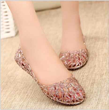 e4aaa64726f2e4 ... Summer Bird s Nest Sandals Shiny Crystal Flat with Jelly Shoes  Flat-bottomed Hole Shoes Female ...