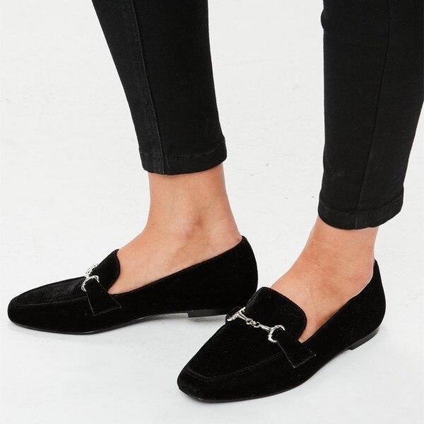 womens black velvet flats