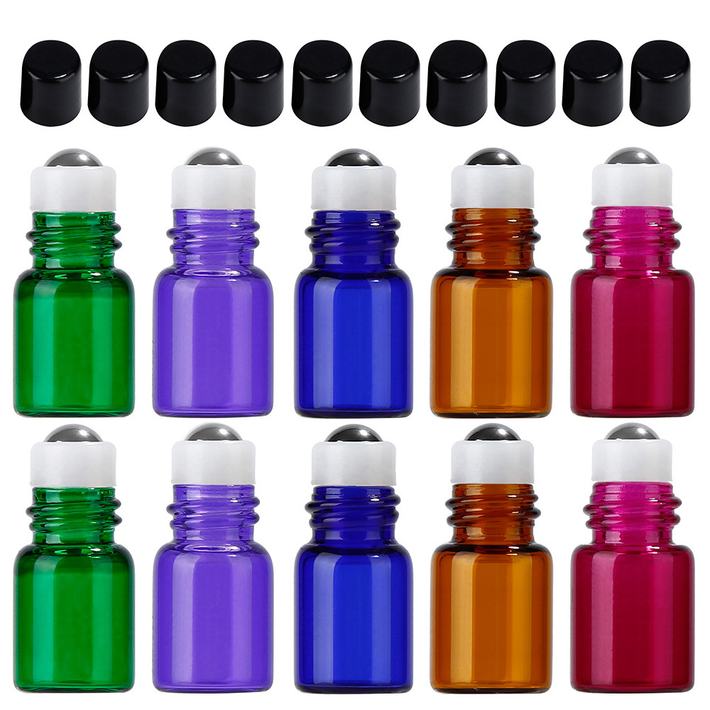 10PCs 3ml Portable Roll on Bottle Empty Refillable Glass Container with Black Cap For Essential Oil Perfume Fragrance 5 10ml 5 10 15 20 30pcs empty glass refillable portable mini perfume bottle