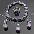 Clásico Púrpura Creado Amatista Plata Juegos de Joyería Pulseras Pendientes Collar Colgante Anillos Para Mujeres de Color Caja de Regalo Libre