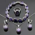 Classic Purple Created Amethyst  Silver Color Jewelry Sets Bracelets Earrings Necklace Pendant  Rings For Women Free Gift Box