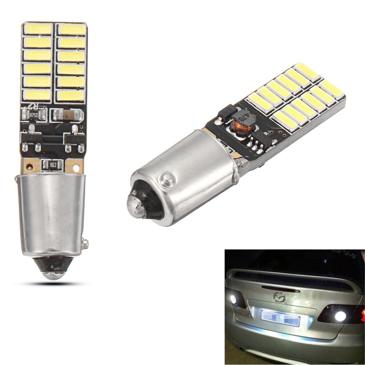 2pcs <font><b>Bay9s</b></font> <font><b>H21W</b></font> 64136 24SMD 6500K Car <font><b>LED</b></font> Backup Lights For BMW For Audi For VW Car Backup Reserve Lights Bulb Tail Lamp image