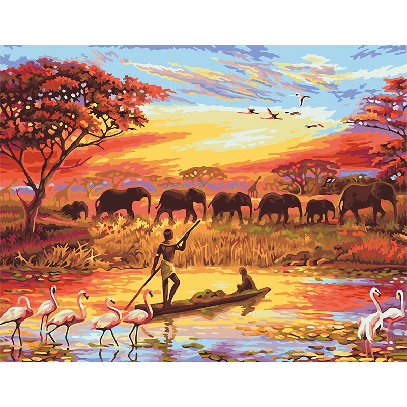 Ancestors Elephant group animal pictures digital painting by numbers paint by numbers for adults kids living room decoration