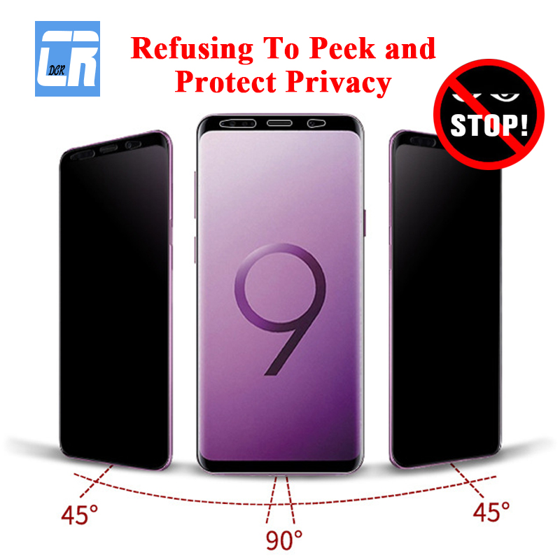 3D Full Curved Anti Spy Tempered Glass For Samsung Galaxy S10 S9 S8 Plus Note 8 9 10 Plus Protect Privacy Screen Protector Glass