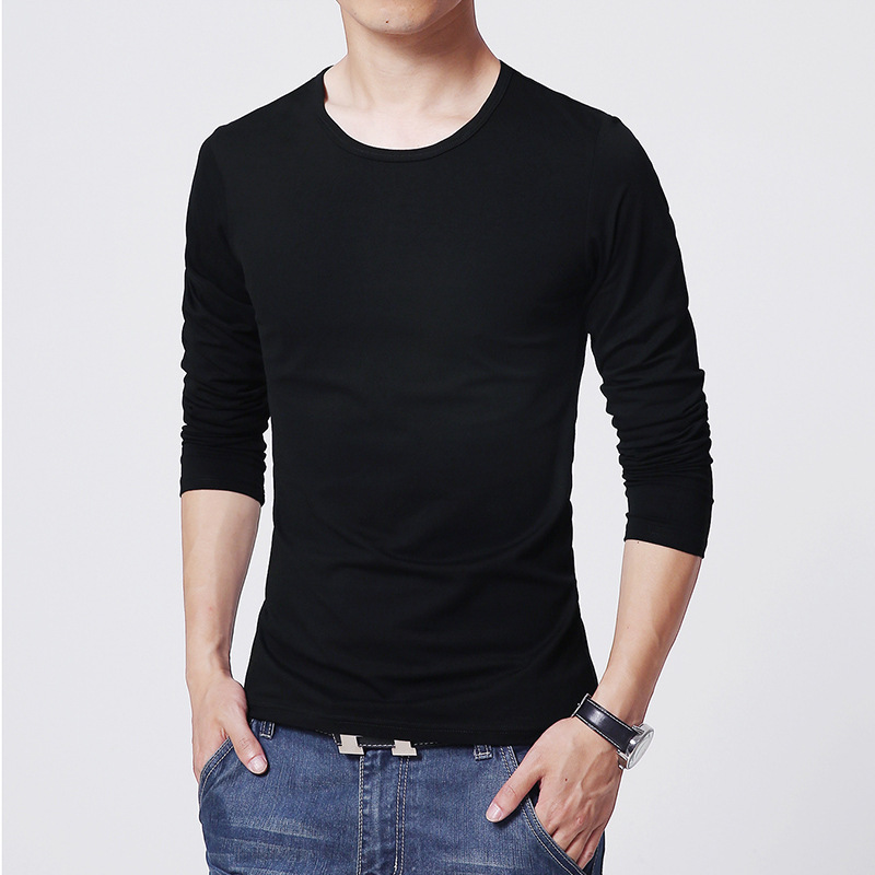 Mrmt Men's T Shirt 3 Basic Colors Long Sleeve Slim T-shirt Young Men Pure Color Tee Shirt 3xl Size O Neck Free Shipping #4