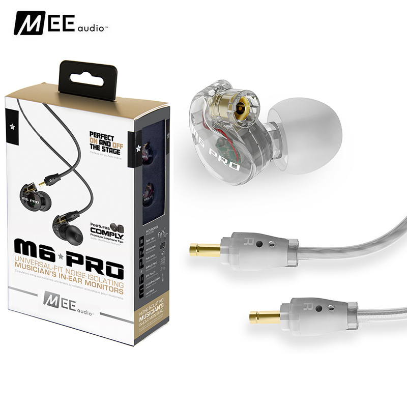 Black/ white MEE audio M6 PRO Universal-Fit Noise-Isolating Musician's In-Ear Monitors with Detachable Cables PK SE215 earphones  dhl free 2pcs black white m6 pro universal 3 5mm wired in ear earphone noise isolating musician monitors brand new headphones