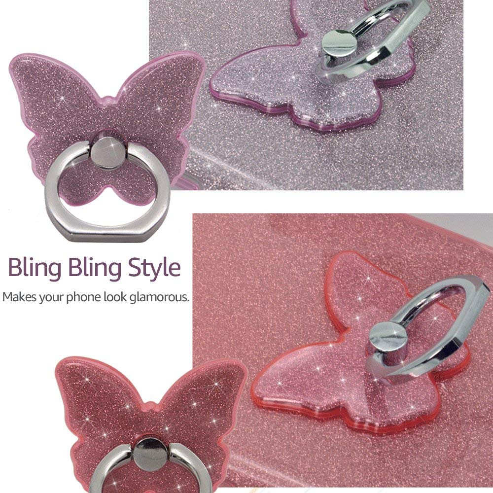 Ascromy Phone Ring Stand Holder Butterfly Bling Glitter Universal 360 Degree Grip for SmartPhones iPhone 7 Xiaomi Huawei Samsung (5)