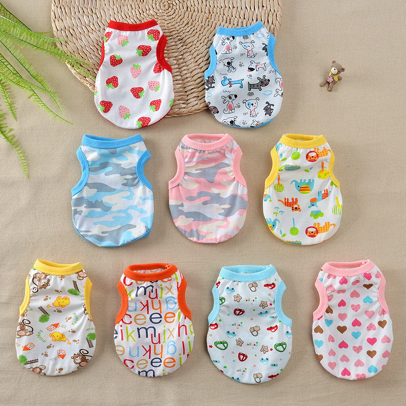 Dog T-shirt Beach Soft Puppy Clothes Cute Pet Cat Clothes Cartoon Pet Clothing Summer Shirt Vests For Small Large Dogs Chihuahua