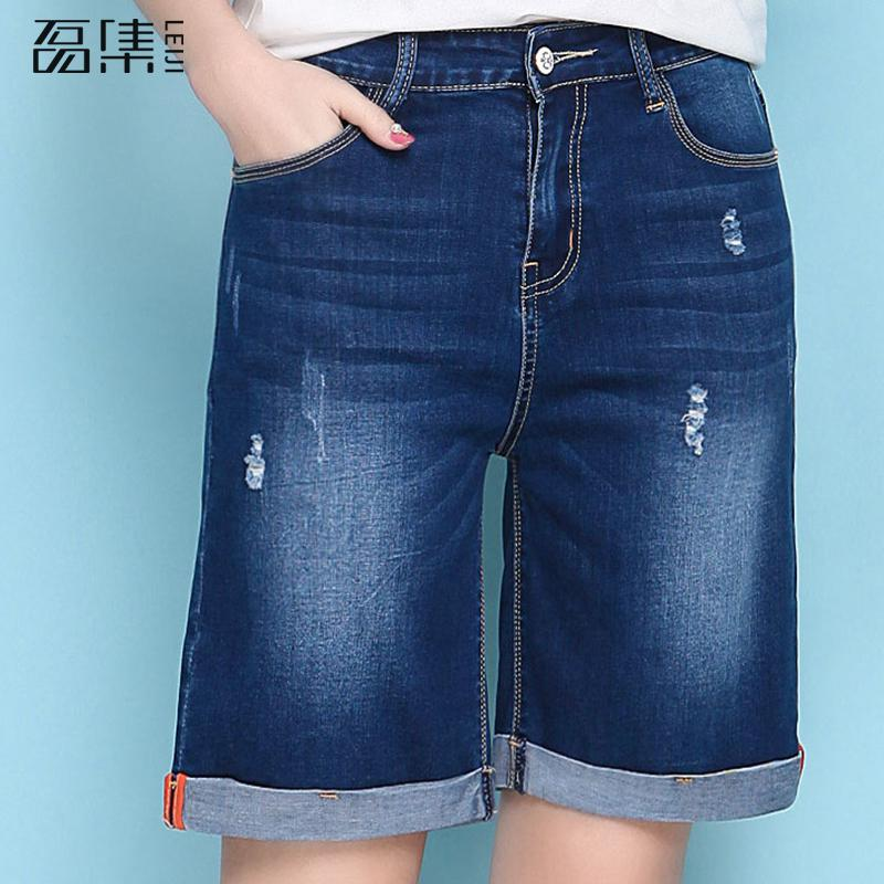 Ripped   Jeans   For Women High Waist Plus Size Loose Knee Length Straight Female Wide Leg Denim Pants Capris 6xl