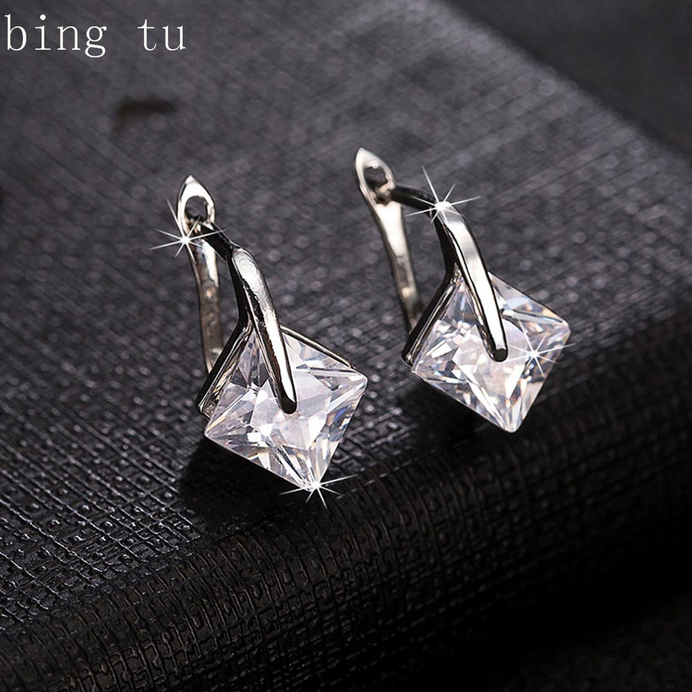 Bing Tu Black White Earrings Aaa Cubic Zirconia Hoop Earrings For Women  Luxury Small Geometric Earring