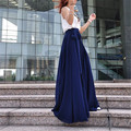 Womens Maxi Long High Waist Chiffon Pleated Boho Skirts Casual Fashion Swing Solid Bandage Autumn Spring Beach Skirt With Bow