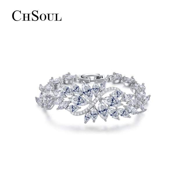 CHSOUL Charm Ice Flower Bracelets & Bangles Marquise Brilliant Cut White Gold Plated Cubic Zirconia Jewelry Bracelets