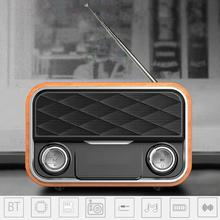 Retro Subwoofer Speaker Dual Loudspeaker Wooden Bluetooth Wireless Speaker FM Radio