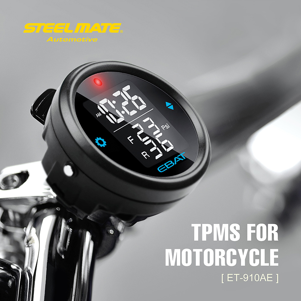 Steelmate EBAT ET-910AE Motorcycle TPMS Tire Pressure Monitor System 2-sensor Wireless LCD Display Moto Alarm System Steel mate steel mate сабвуфер sw 826
