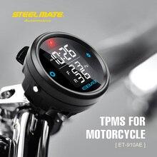 Steelmate EBAT ET-910AE Bike TPMS Tire Strain Monitor System 2-sensor Wi-fi LCD Show Moto Alarm System Metal mate