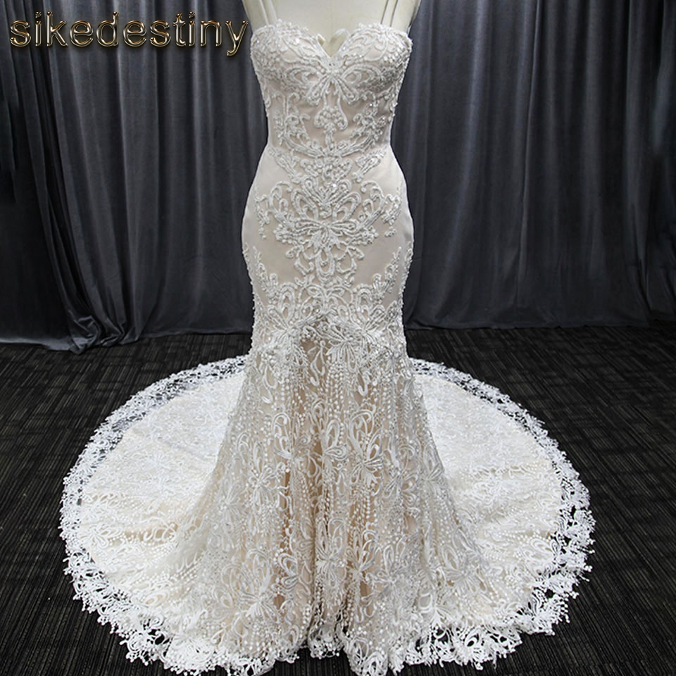Elegant Spaghetti Strap Wedding Dress Beaded Mermaid Bride Dress Vestido de novia 8027