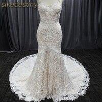 Elegant Spaghetti Strap Wedding Dress Beaded Mermaid Bride Dress Vestido de novia 8027