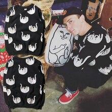 Ripndip Fallin For Nermal Knit Hoodie Men Women Hip Hop Cotton O-neck Drop Middle Finger Cat Cartoon Ripndip Hoodies&Sweatshirts