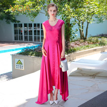 Jacquard de Seda de VOA 2017 Verano Rosa Roja Irregular Atractiva Delgada Cola de sirena Vestido de Fiesta Con Cuello En V Más El Tamaño de Las Mujeres Vestido Maxi ALX06701
