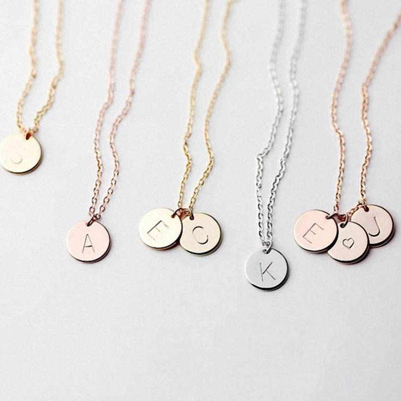 DIY Tiny 26 Letters Initial Choker Necklaces for Women Gold Color Metal Coin Pendant Name necklace Dainty Jewelry Gifts