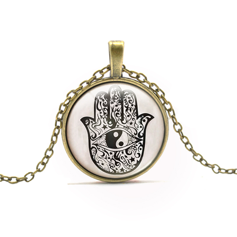 Six Color Hamsa Hand Round Pendant Necklace Vintage Ethnic Yin And Yang Gossip Lucky Hand Necklace For Men Women Fashion Jewelry(China (Mainland))