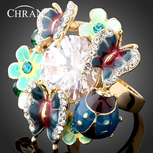 Chran Gold Color Brilliant Big Blue Stone Crystal Enamel Butterfly Jewelry Party Rings Women Fashion Jewelry Accessories Gifts