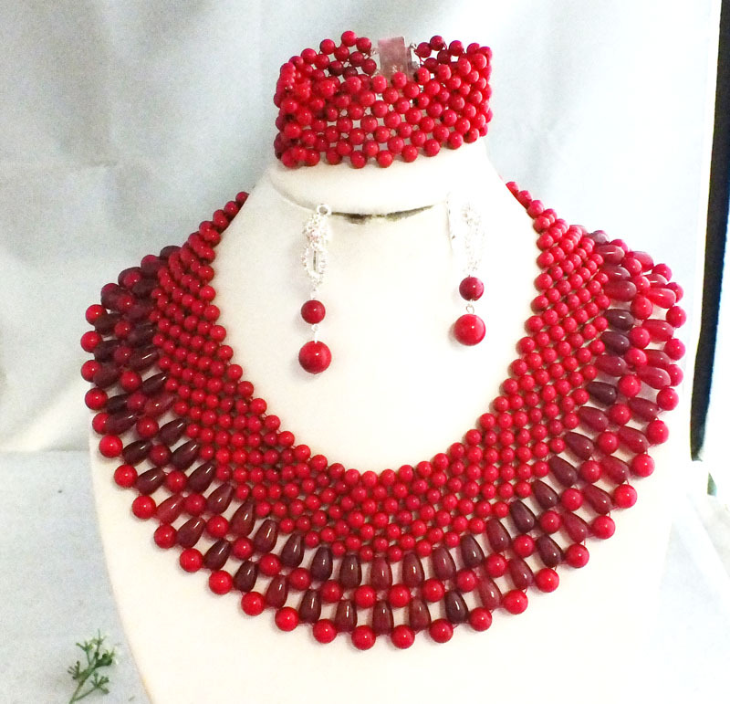 Luxury !!African Wedding Jewelry Sets Red Fashion Bridal Jewelry Set ...
