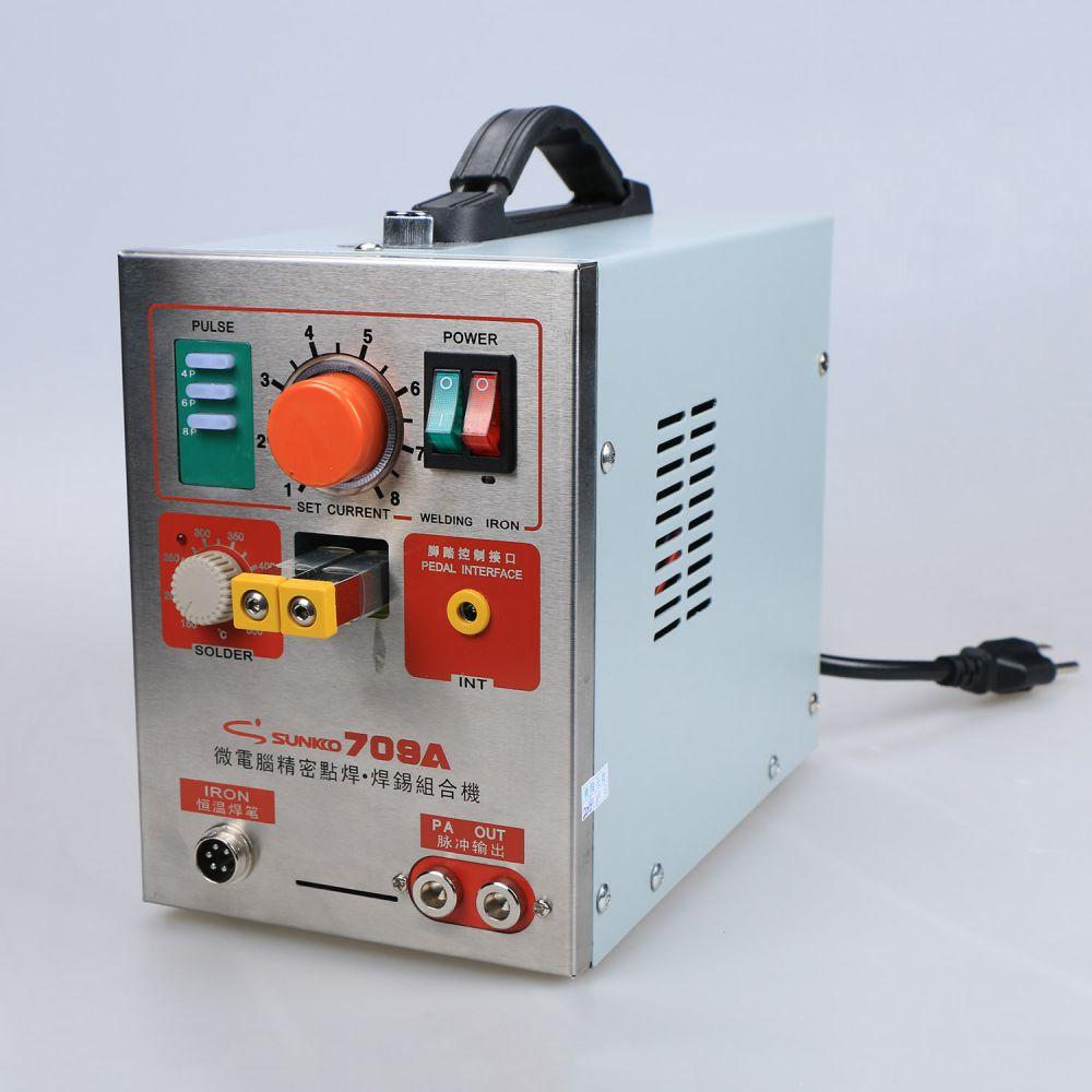 1.9kw 220V SUNKKO LED Pulse Battery Spot Welder 709A with Soldering Iron Station Spot Welding Machine 18650 16430 14500 battery  цены
