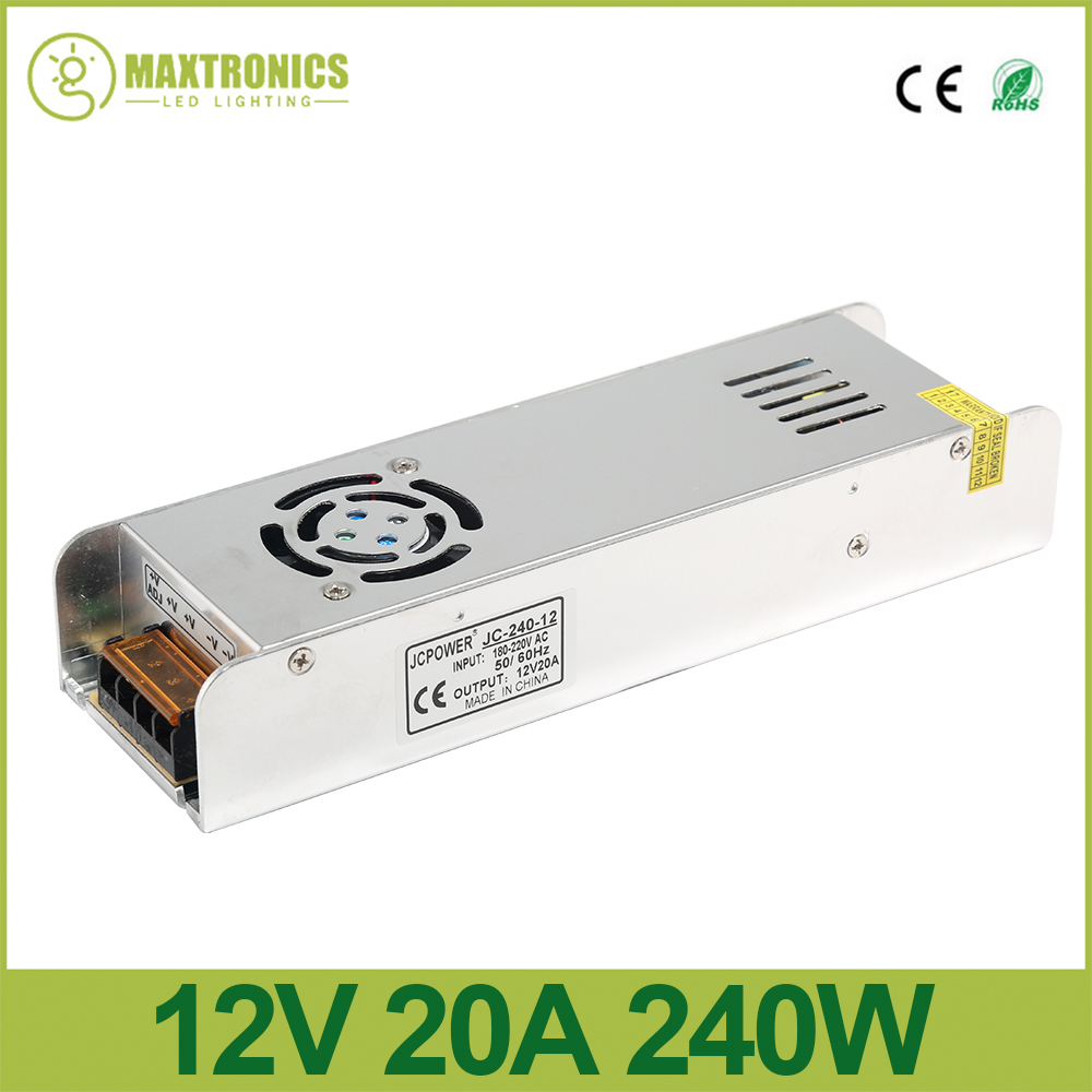12V 20A 240W Slim Power Supply power source AC to DC Adapter Switch Driver for auto LED Strip Light module 180V-220V ac 100 240v to dc 12v 20a 240w power converter for led light silver green