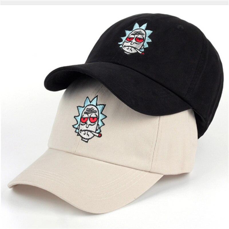 Hats The New US Animation Rick Caps Dad Hat Adjustable High Quality Cotton Baseball Cap Black Beige Bone