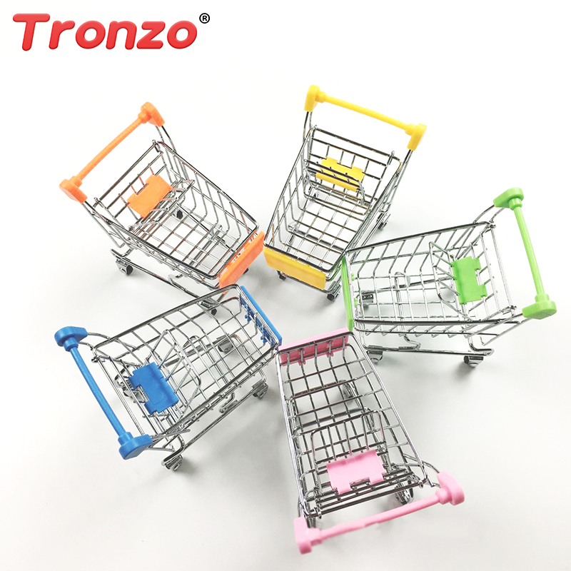 Tronzo 1Pcs Pretend Play Furniture For Dolls Simulation Mini Supermarket Shopping Cart Toys Funny Furniture Toys For Girls