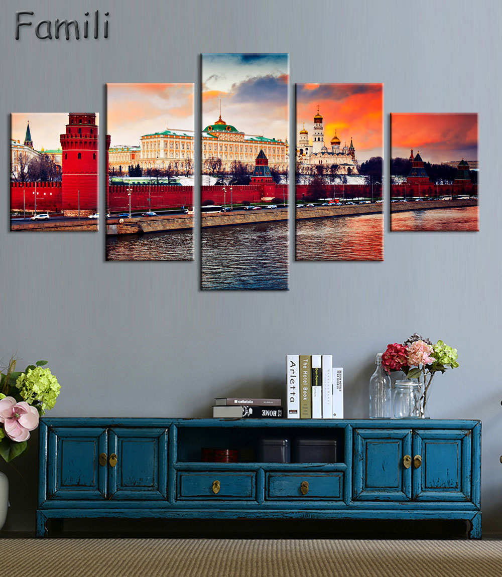 45Pieces New High Quality Russia Moscow Kremlin Art Prints Canvas Painting By City Picture Digital Purple Oil Style No Unframedl in Painting Calligraphy from Home Garden