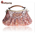 Free Shipping Vintage Handmade Beaded Women's Casual Clutch Small Tote Bag Retro Beading Party Evening Bag Handbag Crossbody Bag