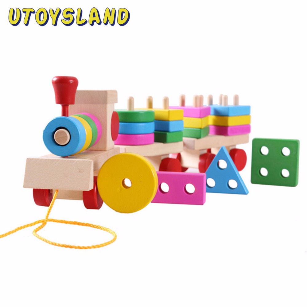 UTOYSLAND Wood Train Truck Geometric Blocks Stacking Vehicle Block Board Game Toy Wooden Educational Toy for Children Gift