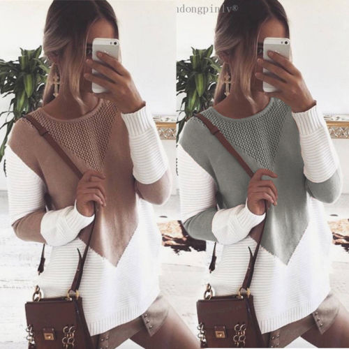 2017 New Patchwork Sweaters Women Knitwear Jumper Loose Pullovers Long Sleeve Knitted Top Sweater Pullover Plus Size