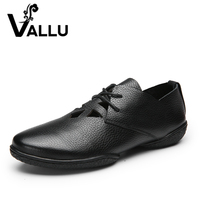 VALLU 2017 Genuine Leather Women Flats Shoes Lace Up Flat Heels Cut Out Soft Leather Women