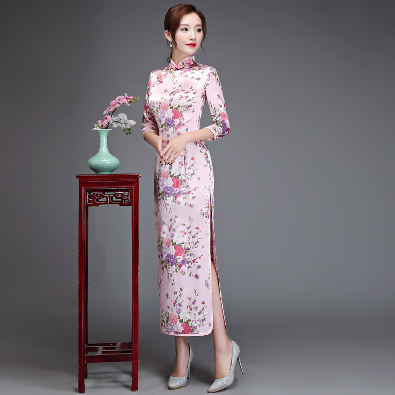 4c949b06a Aliexpress.com : Buy Sexy Traditional Chinese Dress Long Silk Rayon  Cheongsam Qipao Novelty Three Quarter Sleeve Evening Costume S M L XL XXL  XXXL from ...