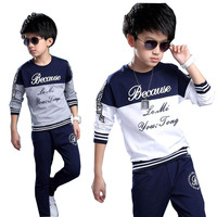 2016 Boys Clothes Sport Casual Summer Letter T Shirt Shorts Pants Two Pieces Children Clothing Set