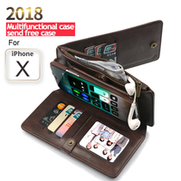 Genuine Leather Wallet Flip Case Cover For iPhone XS 7 8 6 6S Plus Case Luxury Wallet Phone Case For Samsung Note 9 8 S9 S8 Plus