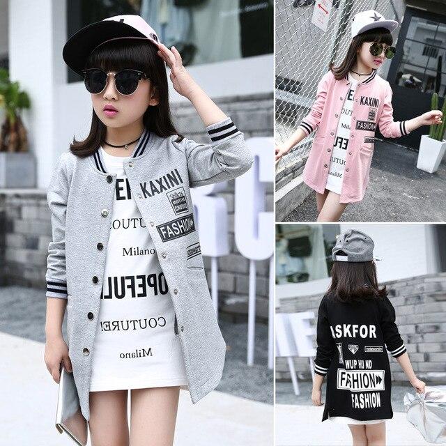 Teenage Girls Autumn Coats and Jackets 2016 New Kids Girls Hoodies Outerwear Children Long Coat Girls Jacket Children's Clothing
