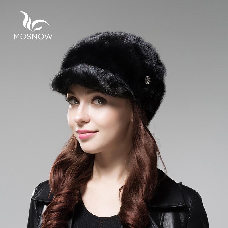 MOSNOW réel entier vison fourrure chapeau femme femmes hiver chapeaux élégant tout nouveau solide de haute qualité femmes chapeaux visière Touca Feminina