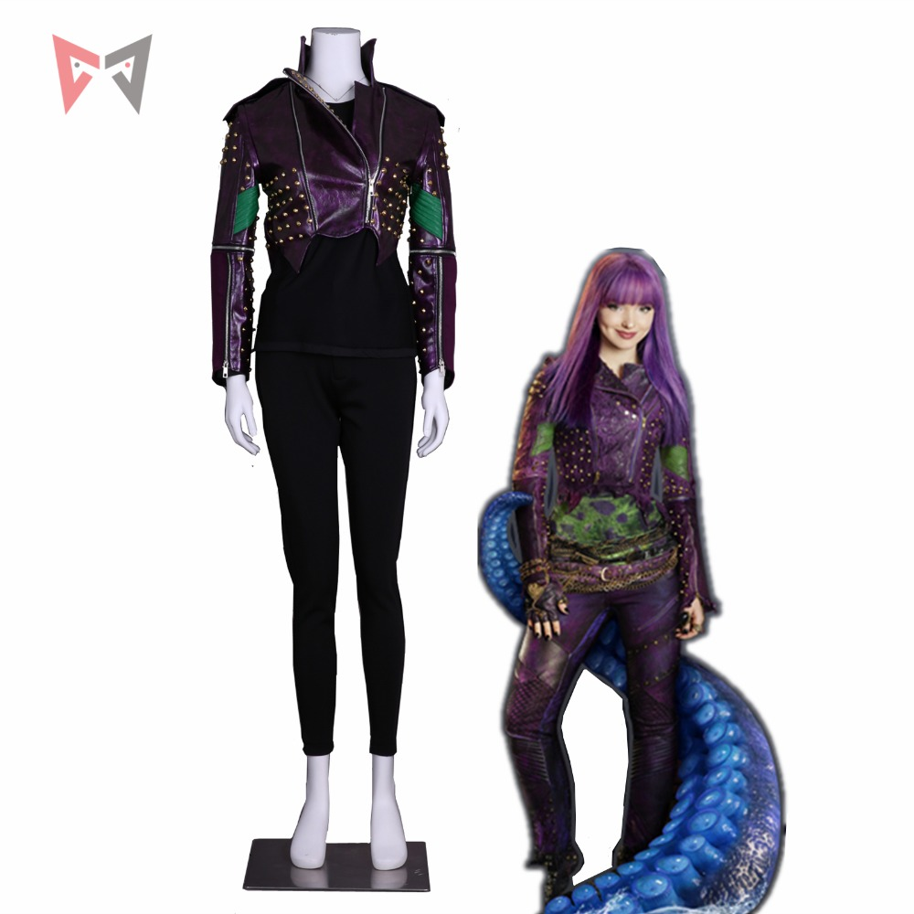 MMGG Descendants 2 Cosplay Mal Cosplay Costume Purple Leather Coat Punk Style Rivet Jacket Custom Made Size Party Top