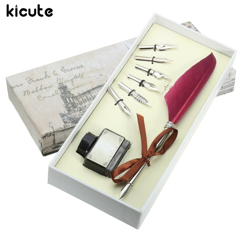 все цены на Kicute Vintage Red Quill Feather Dip Pen Set Writing Ink Set Stationery Gift Box with 5 Nib Wedding Gift Quill Pen Fountain Pen